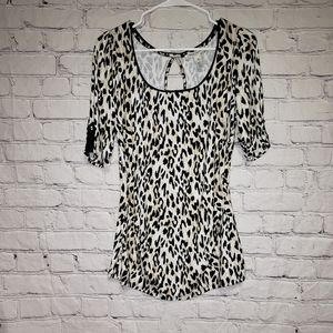 WHBM Leopard Ruched Sides Top